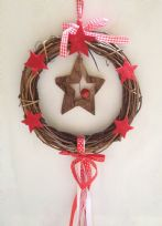 Nordic Rattan Wreath with Pine Cones & Hanging Ribbons ~ Christmas Star